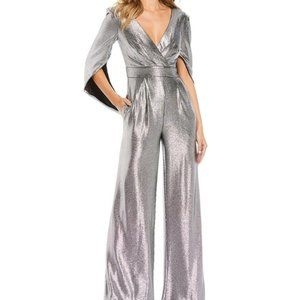 Eliza J Metallic Knit V-Neck Cape Detail Jumpsuit